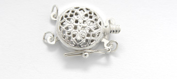 3502312 14Kt Wg  Clasp 12mm  Filigree 2 Str
