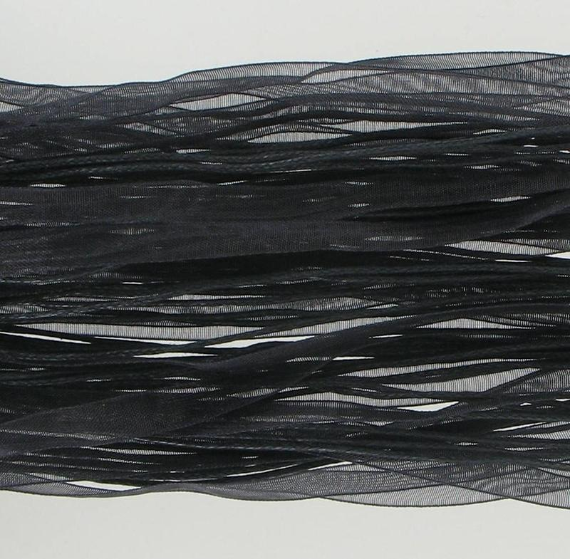 808430 Black Organza & Cotton Cord 17""