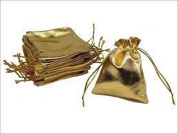 "900034 Drawstring Pouch 4""X 5.5 Gold"